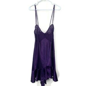 Women's Chemise 3X Purple Satin Sheer Lace Cups